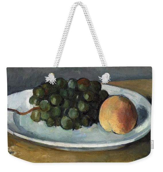 Grapes And Peach On A Plate Weekender Tote Bag