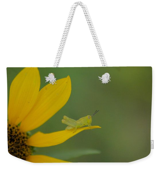 Grasshopper On A Flower Petal Weekender Tote Bag