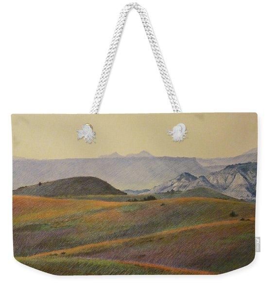 Weekender Tote Bag featuring the pastel Grasslands Badlands Panel 2 by Cris Fulton