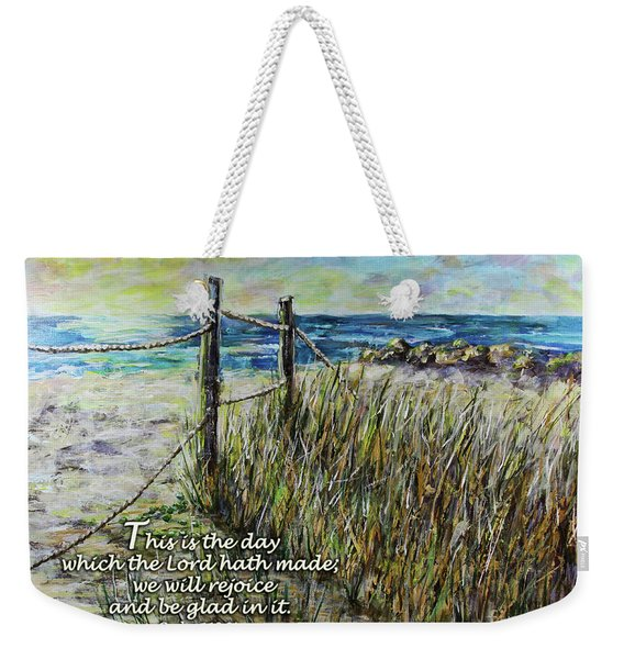 Grassy Beach Post Morning Psalm 118 Weekender Tote Bag