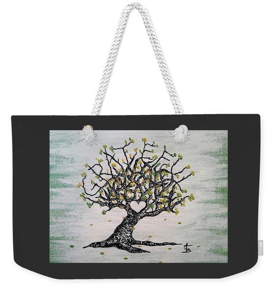 Weekender Tote Bag featuring the drawing Grateful Love Tree by Aaron Bombalicki
