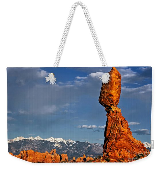 Weekender Tote Bag featuring the photograph Gravity Defying Balanced Rock, Arches National Park, Utah by Sam Antonio Photography