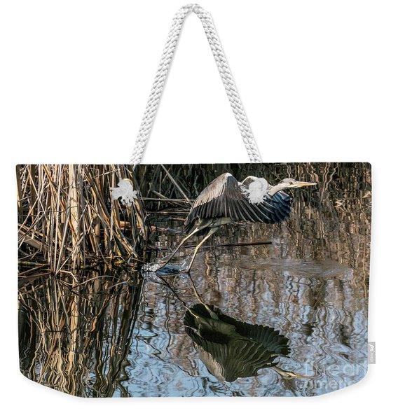 Gray Heron Flew Up Weekender Tote Bag
