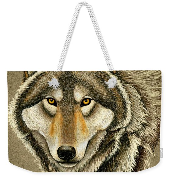 Gray Wolf Portrait Weekender Tote Bag