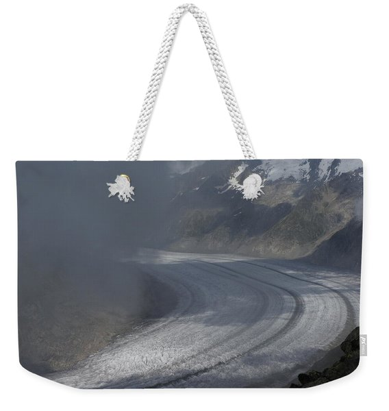 Great Aletsch Glacier In The Clouds. Canton Of Valais, Switzerland. Weekender Tote Bag