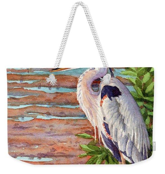 Great Blue Heron In A Marsh Weekender Tote Bag
