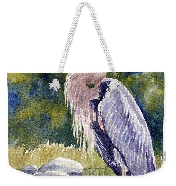 Great Blue Heron In A Stream Weekender Tote Bag