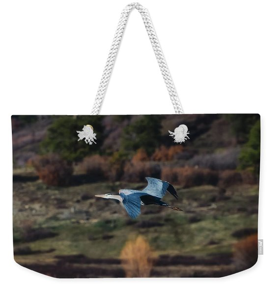 Weekender Tote Bag featuring the photograph Great Blue Heron In Flight II by Jason Coward