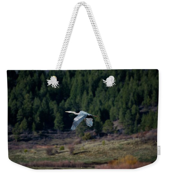 Weekender Tote Bag featuring the photograph Great Blue Heron In Flight by Jason Coward