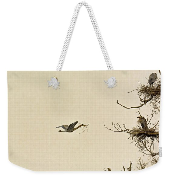 Great Blue Heron Nest Building Weekender Tote Bag