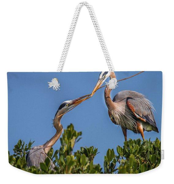 Great Blue Heron Nest Building Weekender Tote Bag