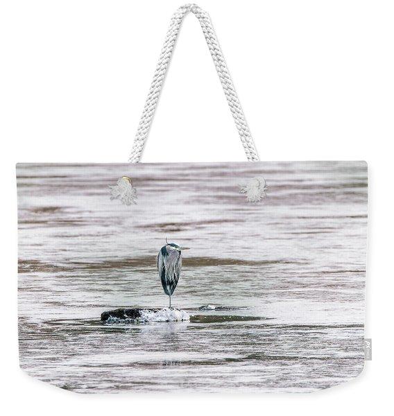 Great Blue Heron On A Frozen Lake Weekender Tote Bag