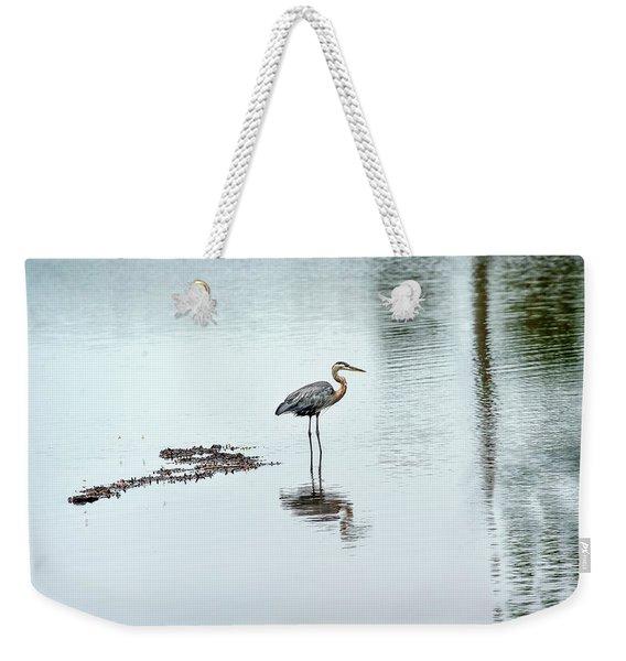 Great Blue Heron On Chesapeake Bay Pond Weekender Tote Bag