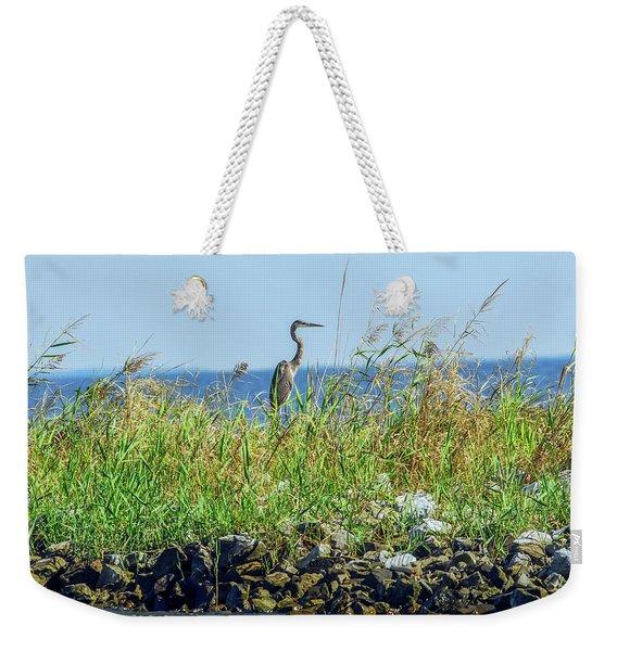 Great Blue Heron On Jetty Weekender Tote Bag