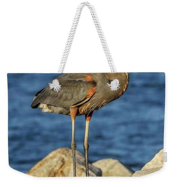 Great Blue Heron On Rock Weekender Tote Bag