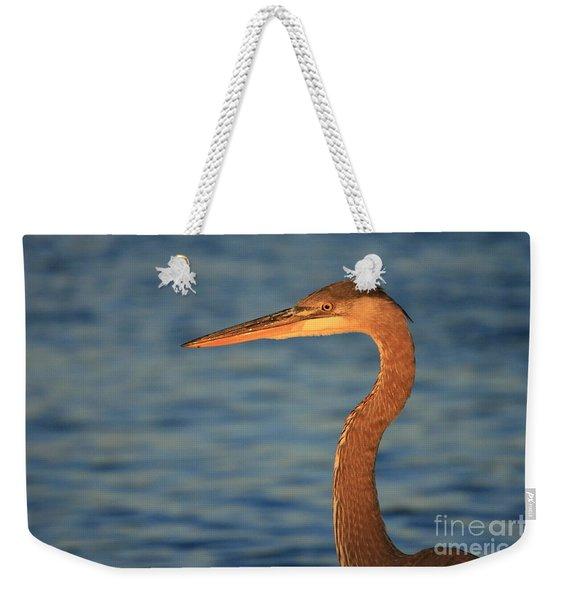 Great Blue Heron Sunset Blue Weekender Tote Bag