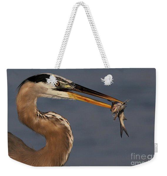 Great Blue Heron W/catfish Weekender Tote Bag