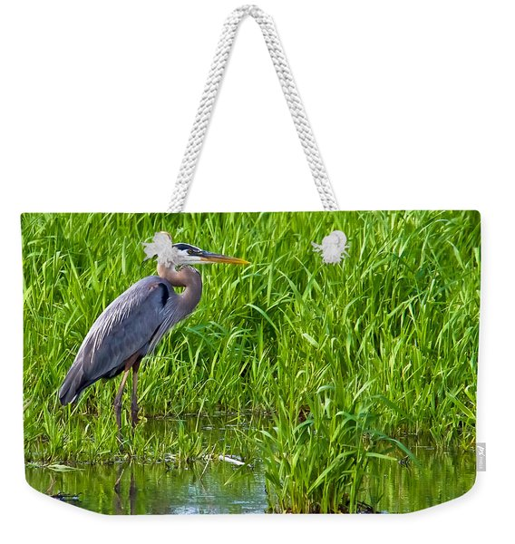 Great Blue Heron Waiting Weekender Tote Bag