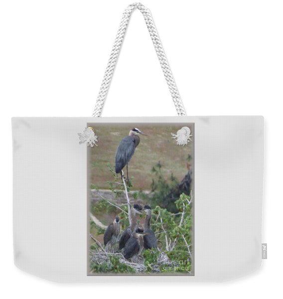 Great Blue Heron Watching Over Nest Weekender Tote Bag