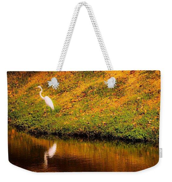Great Egret At The Lake Weekender Tote Bag
