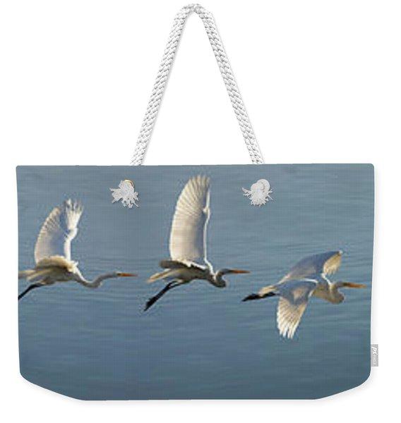 Great Egret Flight Sequence Weekender Tote Bag