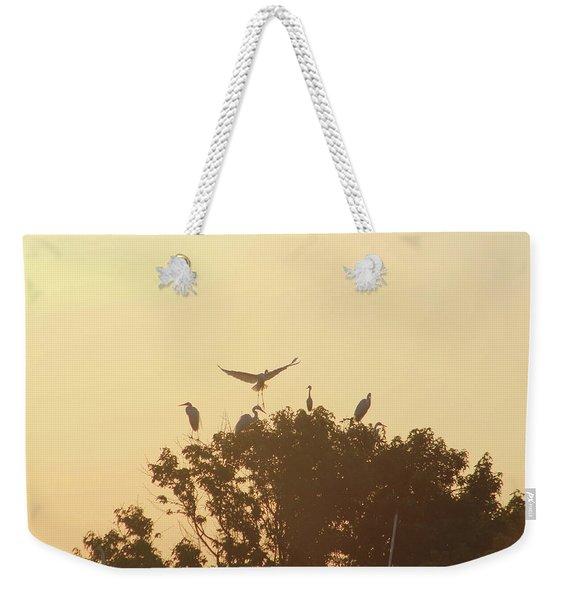 Great Egret Joining Friends Weekender Tote Bag