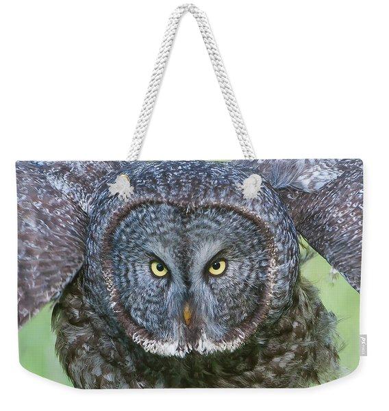 Great Gray Owl Flight Portrait Weekender Tote Bag