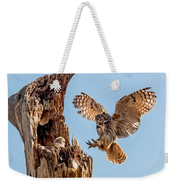 Great Horned Owl Returning To Her Nest Weekender Tote Bag