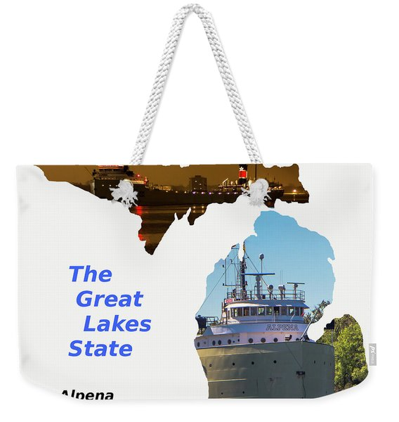 Great Lake State Freighter Alpena  Weekender Tote Bag