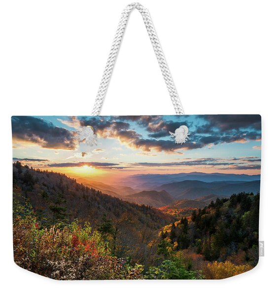 Great Smoky Mountains National Park Nc Scenic Autumn Sunset Landscape Weekender Tote Bag