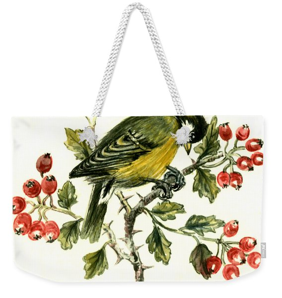 Great Tit On Hawthorn Weekender Tote Bag