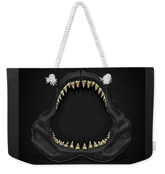 Great White Shark Jaws With Gold Teeth  Weekender Tote Bag