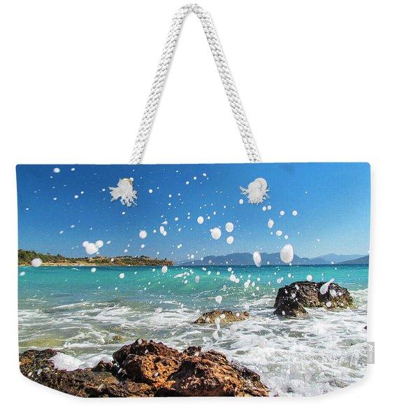 Greek Surf Spray Weekender Tote Bag