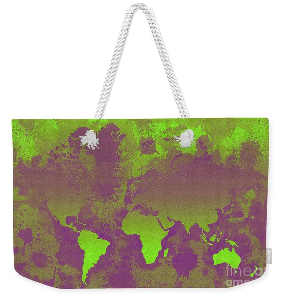 Green And Purple World Map Weekender Tote Bag