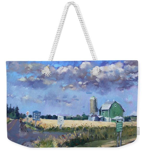 Green Barn In Glen Williams On Weekender Tote Bag