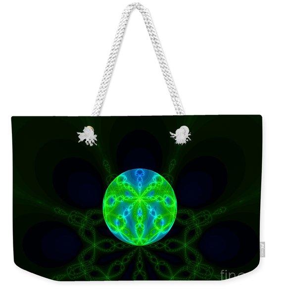 Green Blue World Fractal  Weekender Tote Bag