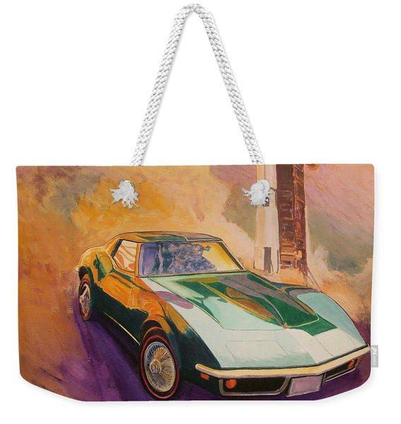 Green Corvette With Saturn Rocket Weekender Tote Bag