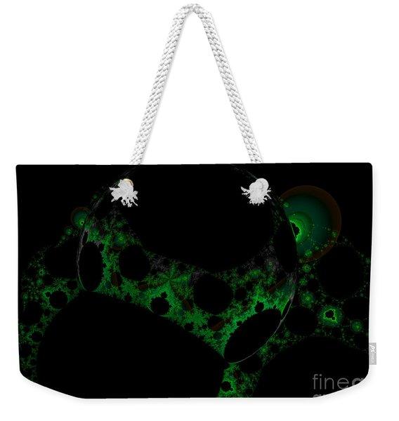 Green Darkness Galaxy Fractal  Weekender Tote Bag