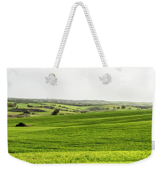 Weekender Tote Bag featuring the photograph Green Fields. by Arik Baltinester