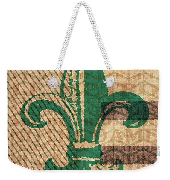 Green Fleur De Lis Weekender Tote Bag