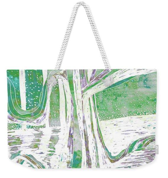 Green-grey Misty Morning River Tree Weekender Tote Bag