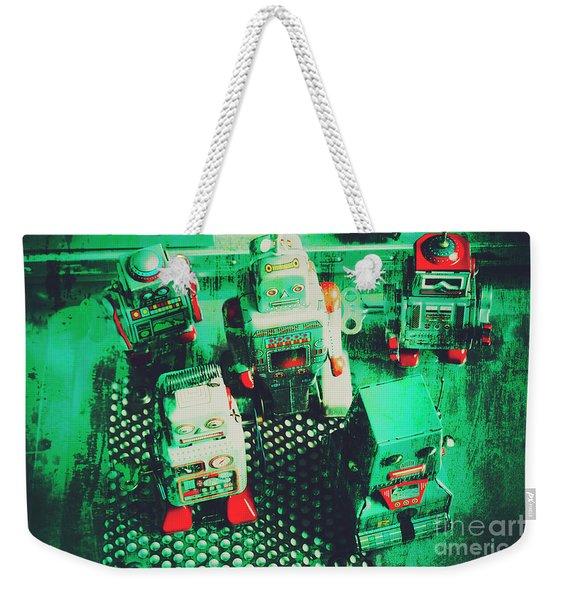 Green Grunge Comic Robots Weekender Tote Bag