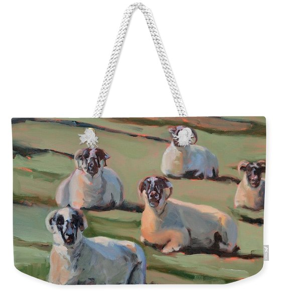 Green Hill Sheep At Rest Weekender Tote Bag