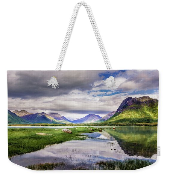 Weekender Tote Bag featuring the photograph Green Hills Of Vesteralen by Dmytro Korol