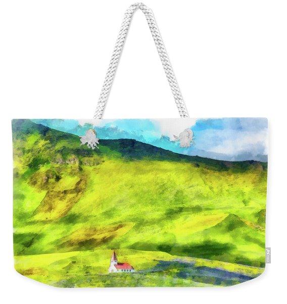 Green Iceland Aquarell Painting Vik Church And Green Hills Weekender Tote Bag