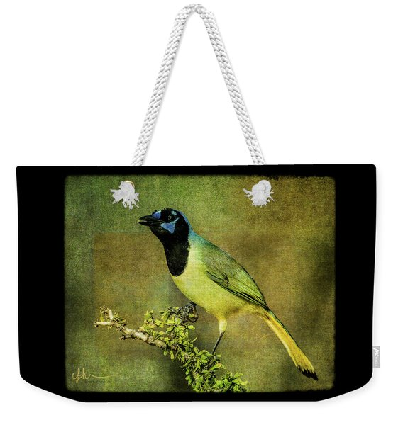 Green Jay With Textures Weekender Tote Bag