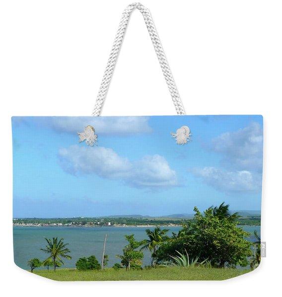 Green Landscape And Sky Weekender Tote Bag