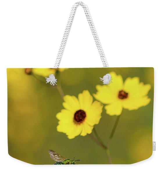 Green Metallic Bee Weekender Tote Bag