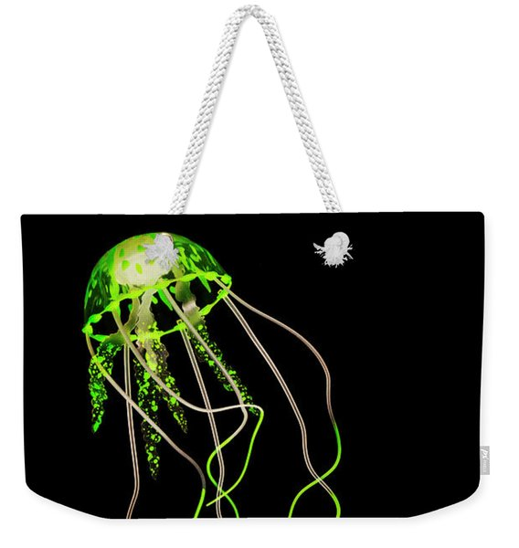 Green Neon Jellyfish Weekender Tote Bag
