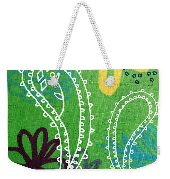 Green Paisley Garden Weekender Tote Bag